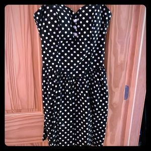 Black Polka Dotted Mini Dress (L)